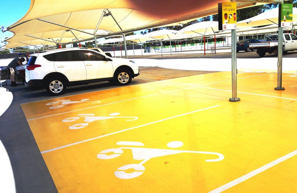 Mandurah Forum Parents with Prams demarcated parking