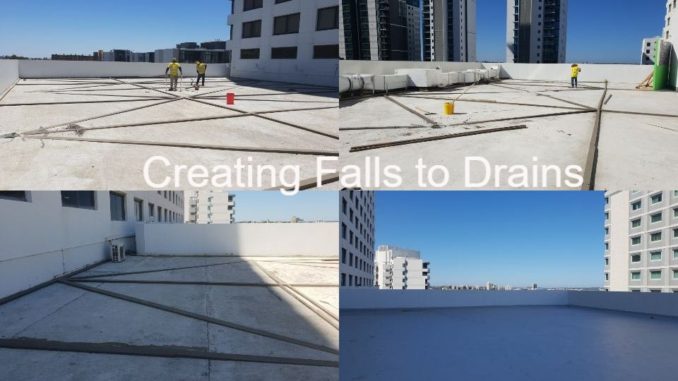 Installing falls to drains at Pan Pacific 9th Floor balcony